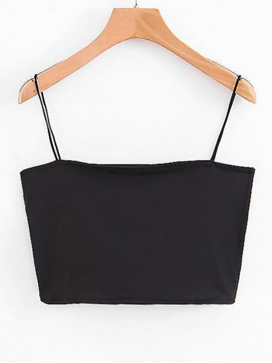 chic Spaghetti Strap Cropped Top - BLACK M