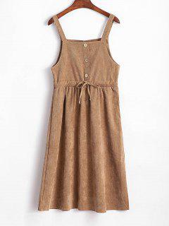 A Line Corduroy Drawstring Dress - Camel Brown
