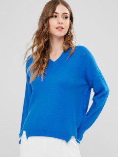 V Neck High Low Sweater - Dodger Blue