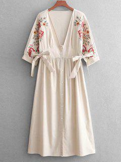 Button Up Embroidered Casual Dress - Champagne M