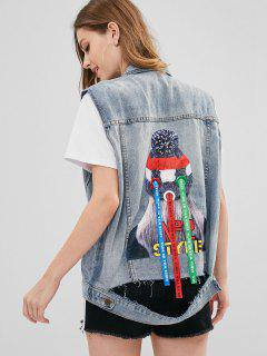 Distressed Beaded Patch Denim Waistcoat - Denim Blue M