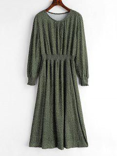 Smocked Waist Polka Dot Dress - Hazel Green M