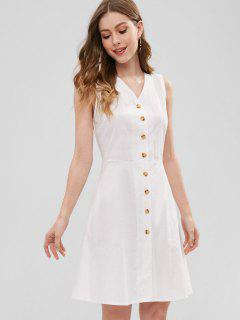 Cross Back Button Through Dress - White M
