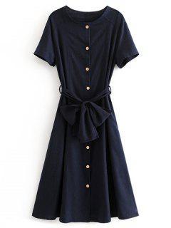 Button Up Belted A Line Dress - Midnight Blue M