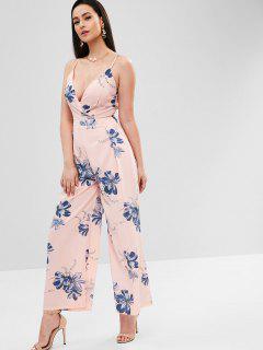 Flower Cami Wide Leg Jumpsuit - Pig Pink Xl