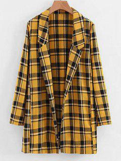 Side Slit Open Front Checked Coat - Mustard S
