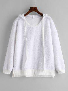 Side Slit Fluffy Hoodie - White M