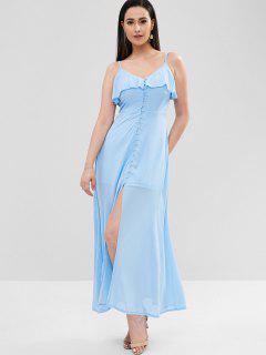 Maxi Robe à Bretelle Boutonnée à Volants - Bleu De Ciel  M