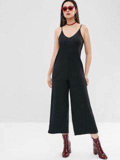 Jersey Wide Leg Jumpsuit - Black L