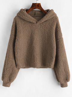 Loose Fit Faux Fur Hoodie - Coffee M