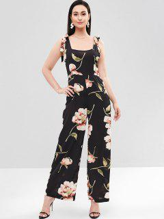 Tie Shoulder Floral Palazzo Jumpsuit - Black Xl