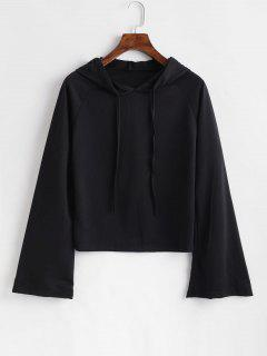 Plain Flare Sleeve Hoodie - Black L