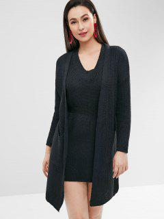 Sweater Tank Dress And Cardigan Twin Set - Black