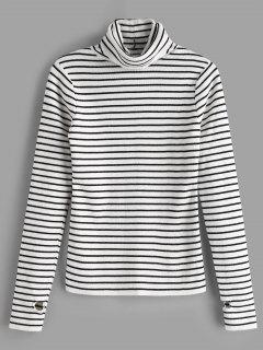 Thumb Hole Striped Knit Top - White
