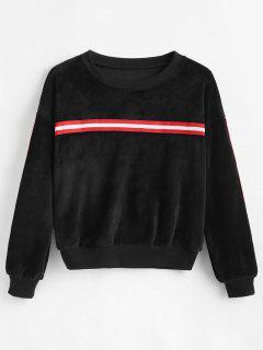 Drop Shoulder Striped Velvet Sweatshirt - Black L