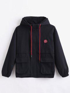 Hooded Letter Drop Shoulder Jacket - Black L