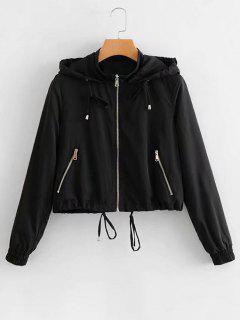 Hooded Drawstring Zip Up Jacket - Black S