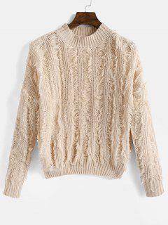 Fringed Drop Shoulder Sweater - Apricot