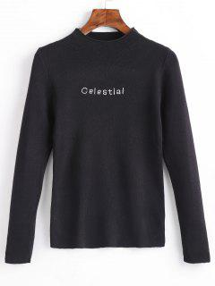 Celestial Embroidered Pullover Sweater - Black