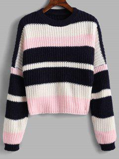 Color Block Chunky Crop Sweater - Pink