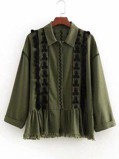 Tassels Embroidered Button Up Jacket - Army Green M