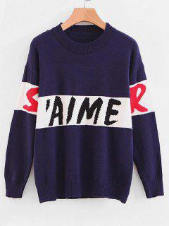 Crew Neck Letter Graphic Sweater - Deep Blue