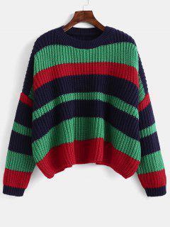 Color Block Chunky Crop Sweater - Deep Green