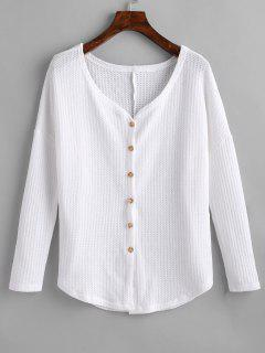 Knotted Button Up V Neck Blouse - White L