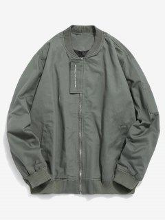 Casual Top Placket Bomber Jacket - Army Green M