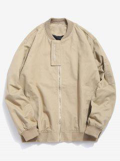 Casual Top Placket Bomber Jacket - Light Khaki L