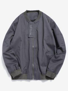 Casual Top Placket Bomber Jacket - Gray M