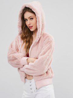 Faux Fur Hooded Winter Coat - Pink L