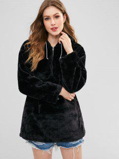 Zipped Long Faux Fur Hoodie - Black M