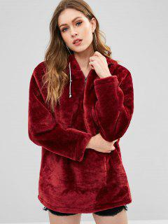 Zipped Long Faux Fur Hoodie - Red Wine M