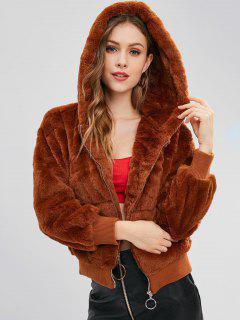 Faux Fur Hooded Winter Coat - Brown L