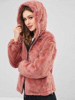 Hooded Plush Winter Faux Fur Coat - Lipstick Pink M