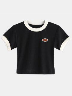 Contrast Trim Cropped Tee - Black S