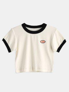 Camiseta Recortada Con Borde En Contraste - Blanco Cálido S