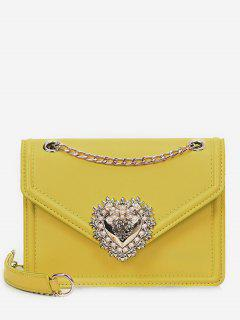 Faux Pearl Decorative Crossbody Bag - Yellow