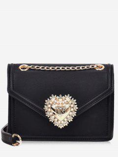 Faux Pearl Decorative Crossbody Bag - Black