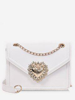 Faux Pearl Decorative Crossbody Bag - White