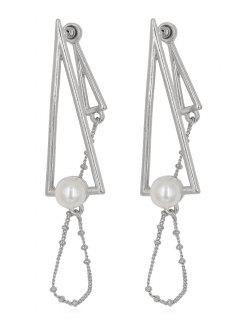 Pendientes De Flecos Con Flecos Geométricos De Perlas Artificiales - Plata