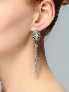 Teardrop Shape Tassel Rhinestone Drop Earrings - Silver