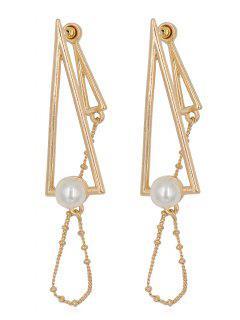 Pendientes De Flecos Con Flecos Geométricos De Perlas Artificiales - Oro