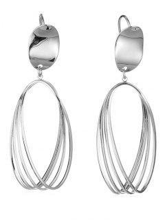 Cut Out Teardrop Pendant Earrings - Silver
