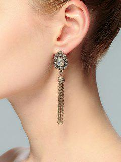 Teardrop Shape Tassel Rhinestone Drop Earrings - Gold