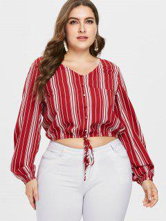 ZAFUL Plus Size Striped Long Sleeve Blouse - Red 2x