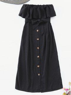 Button Embellished Strapless Belted Dress - Black M