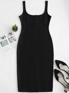 U Neck Pencil Tank Dress - Black M