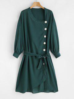 Button Up Shift Sheer Belted Dress - Deep Green M
